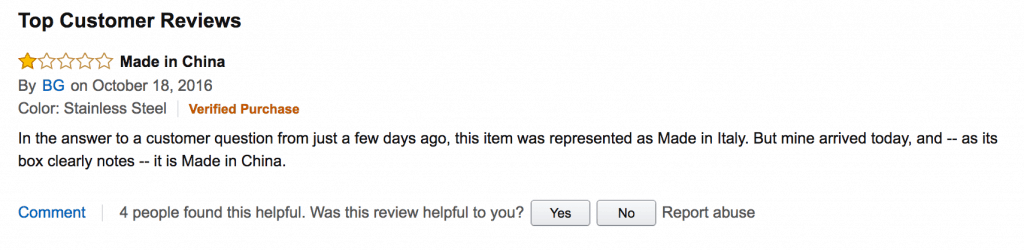 Screen shot of Amazon review for letter to lagostina