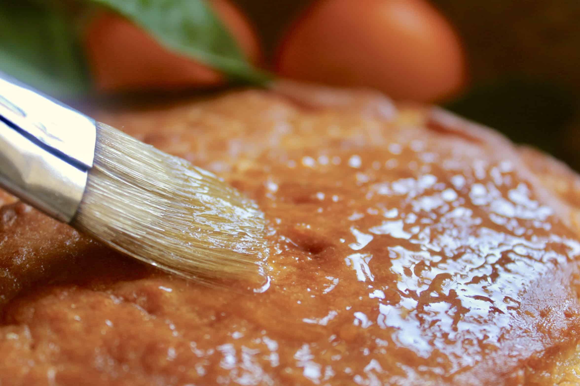 glazing a sicilian whole orange cake
