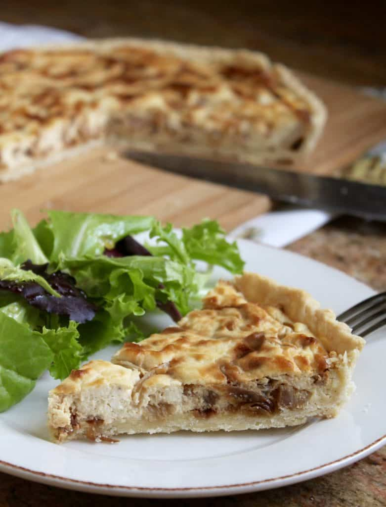 caramelized onion, feta and pancetta tart.