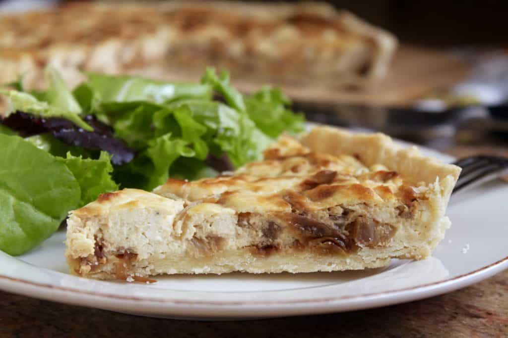 caramelized onion, feta and pancetta tart