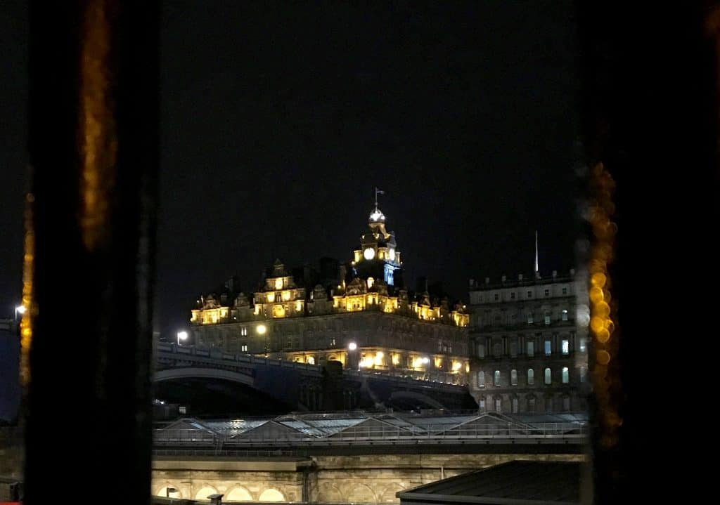 The Balmoral Hotel at night.