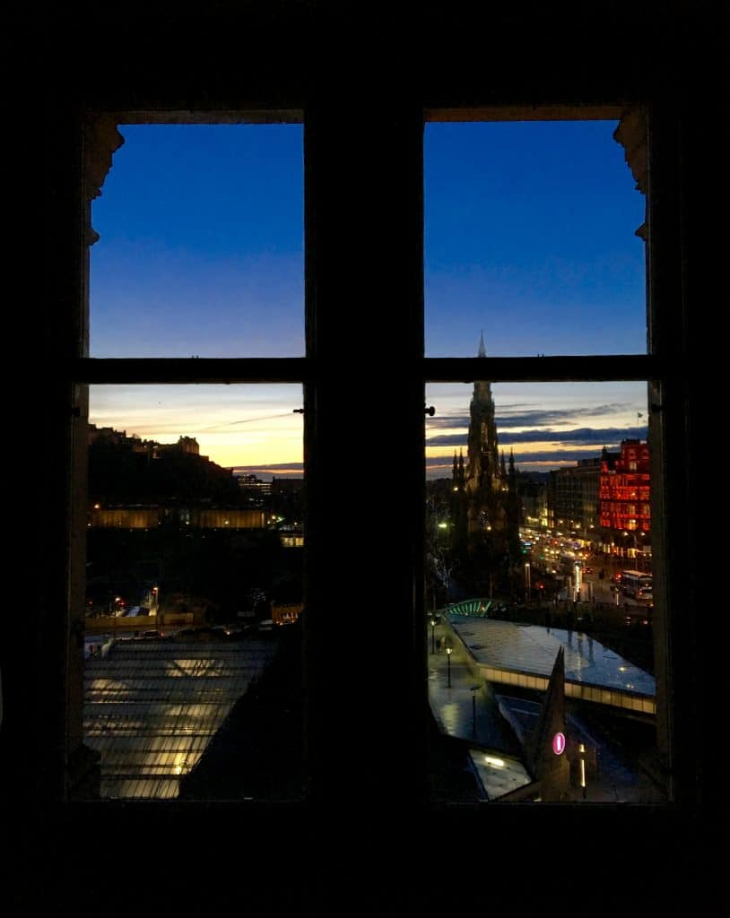 Sunset view from a Balmoral window.