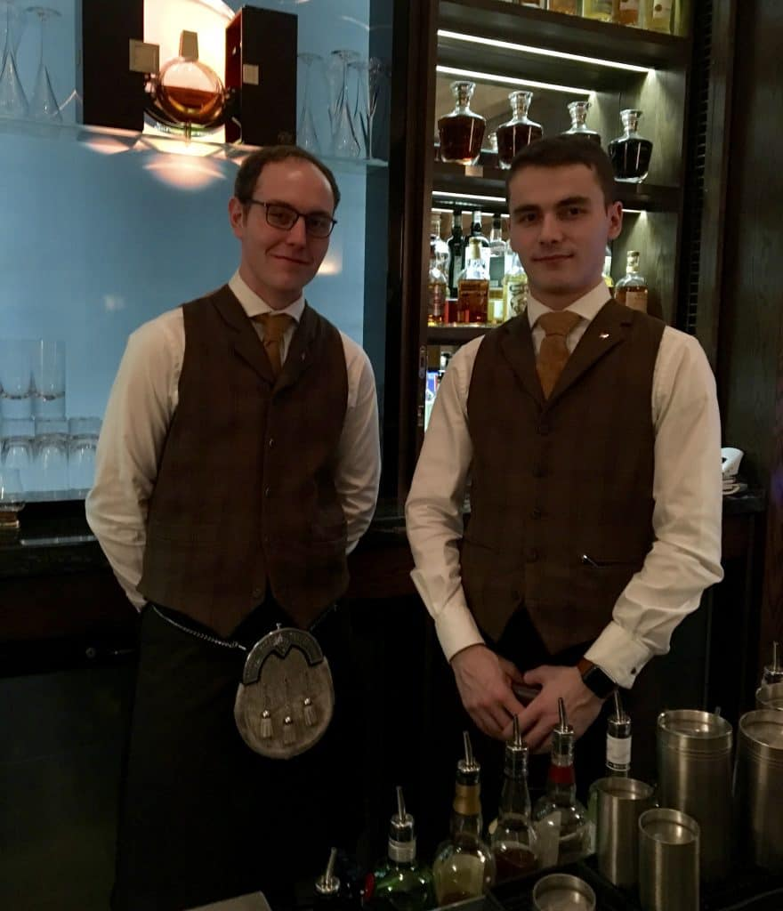 Chuck and Kiril, whisky ambassadors at The Balmoral Whisky Bar