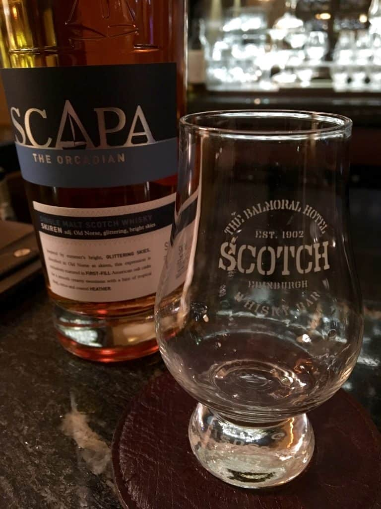 Scapa at the Balmoral Whisky bar
