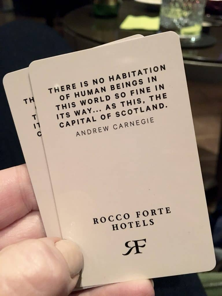 Balmoral room keys with Andrew Carnegie quote!