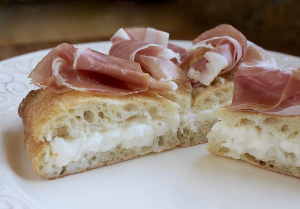 Focaccia with burrata and prosciutto
