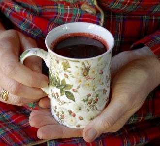 Hot Black Currant and Orange Citrus Drink for Colds and Flu