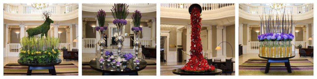 Some of Planet Flowers' displays in Balmoral's Lobby