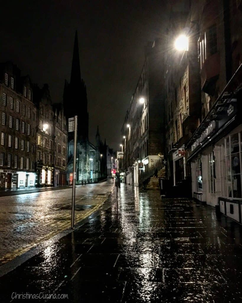 A rainy Royal Mile.