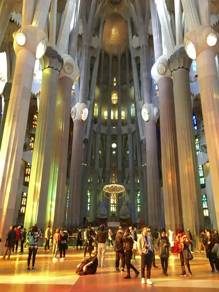 nterior of La Sagrada Familia