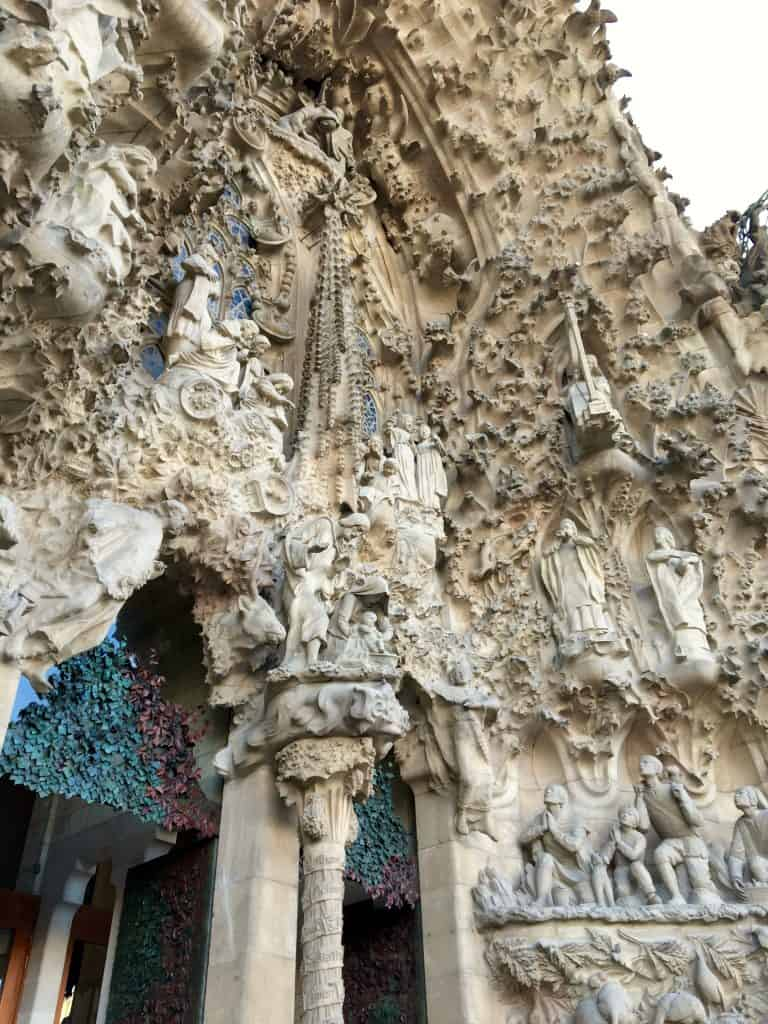 Detail of the nativity facade on La Sagrada Familia