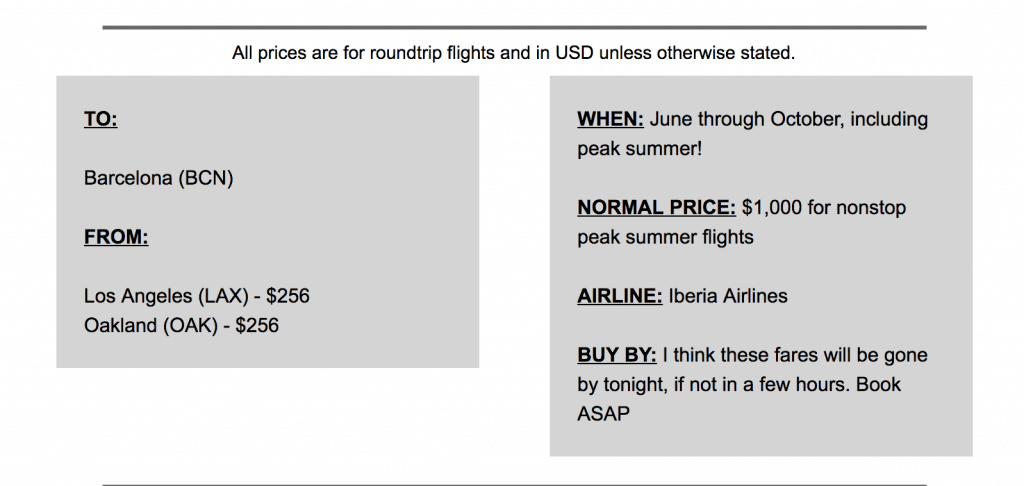 Scott's cheap flights example email