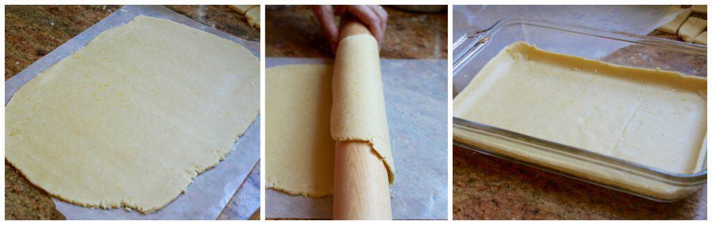 Preparing base pastry for Scottish Fruit Slice