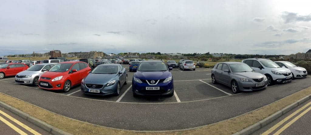 Qashqai at St Andrews driving a 500 mile castle tour of scotland