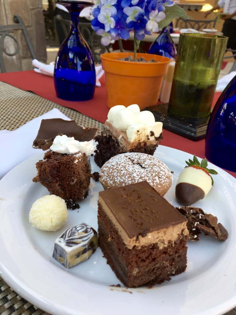 Selection from 15 chocolate desserts at Pastry Week at Villa Del Palmar in Loreto