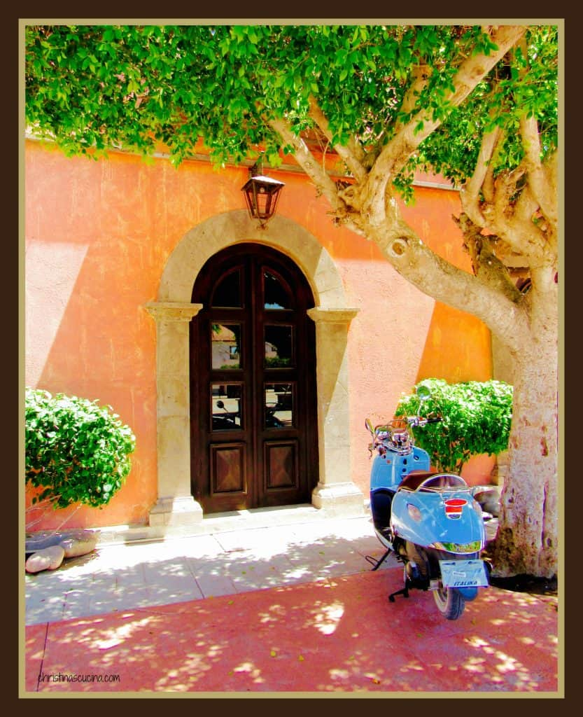 Scooter by a door in Loreto, Mexico