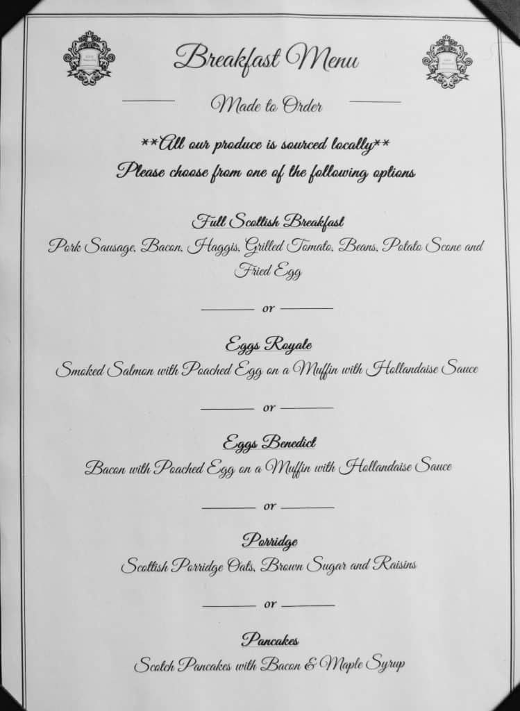 Eden Mansion breakfast menu