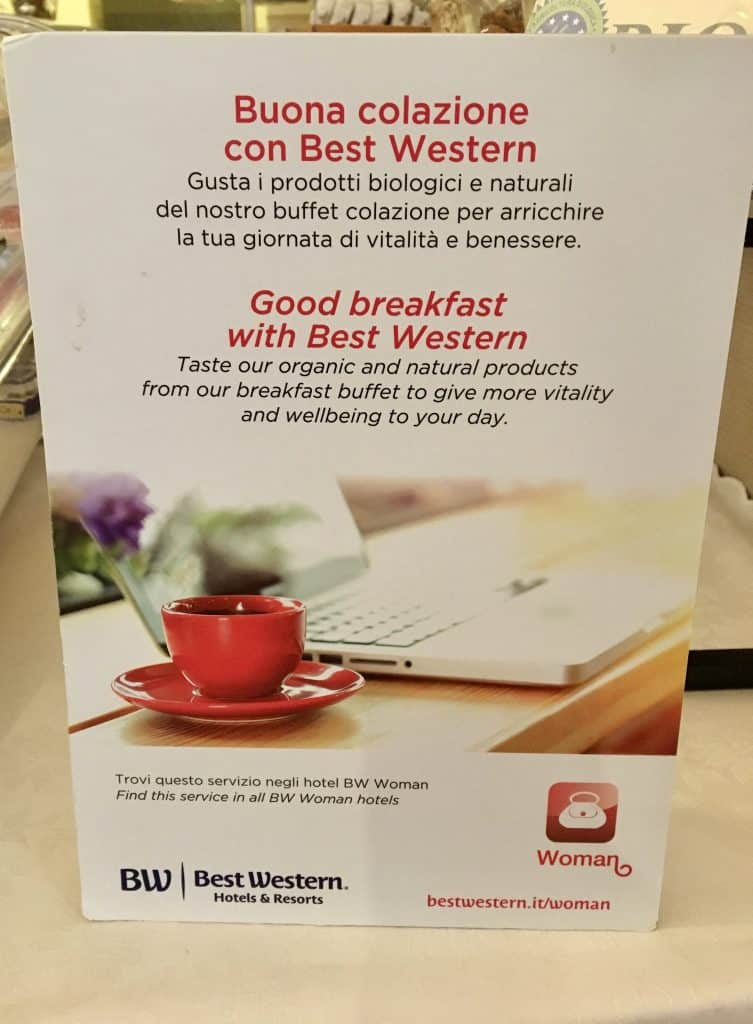 sign at Hotel Genio breakfast buffet