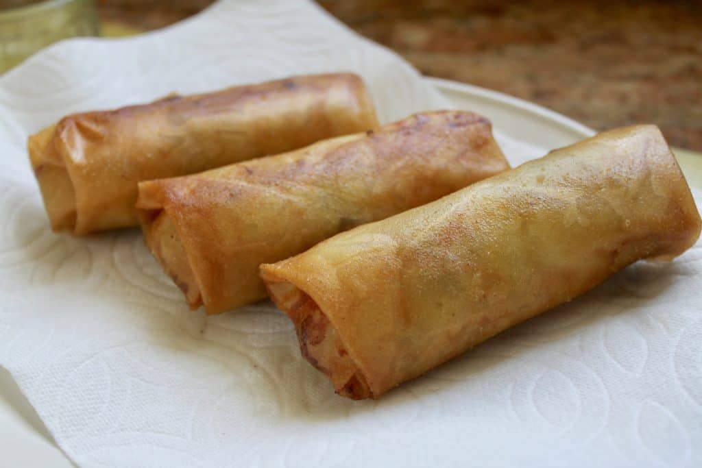 Lumpia fresh out of the frying pan