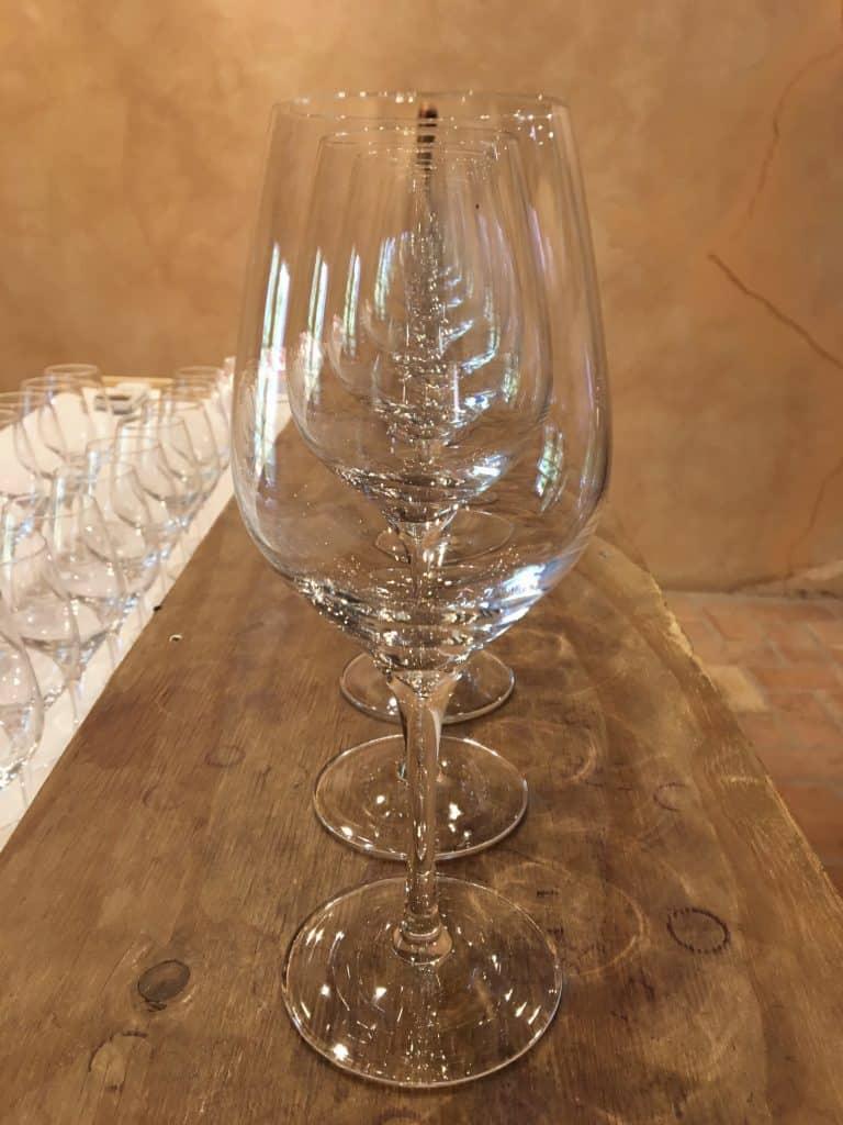 Glasses ready for wine tasting
