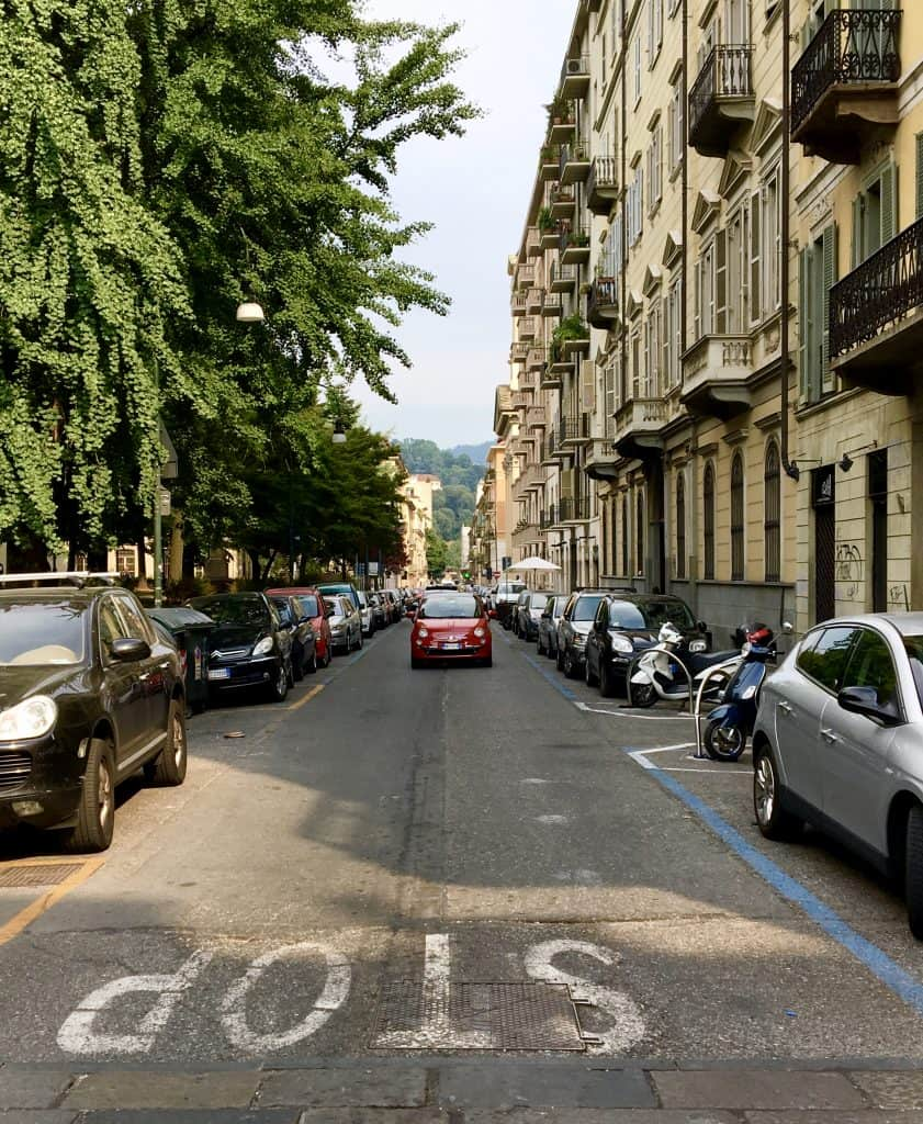 Fiat Turin street torino red car