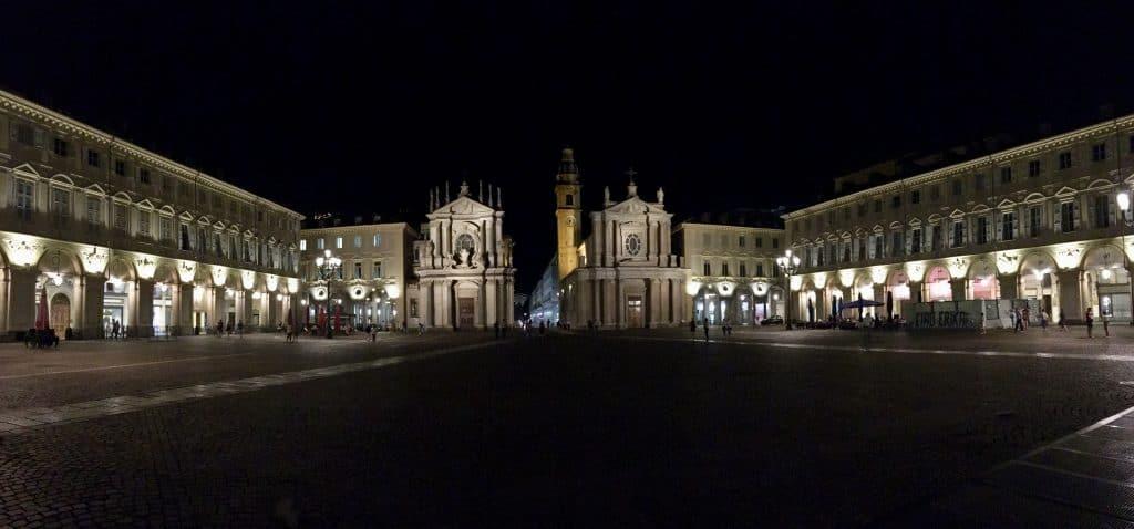 Piazza san carlo night churches italy turin