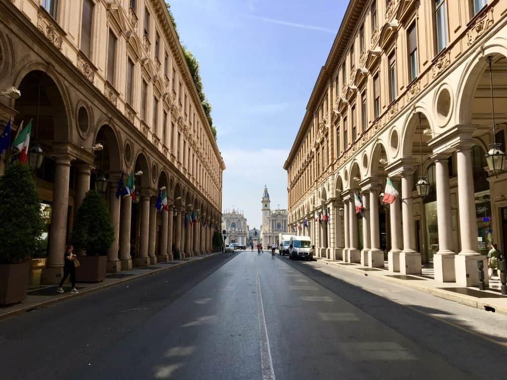 Turin street city center colonnades piazza san carlo via roma
