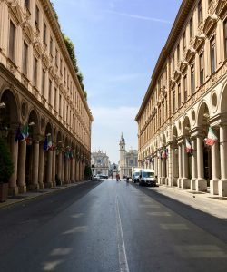Turin street city center colonnades piazza san carlo via roma