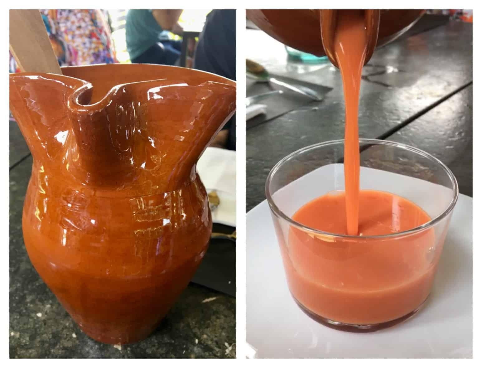 pouring gazpacho