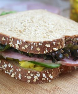 Ham piccalilli and cucumber sandwich