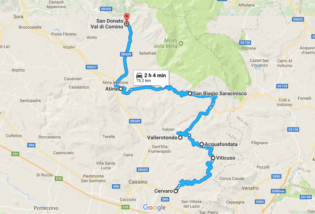 Map of scenic Italian road trip