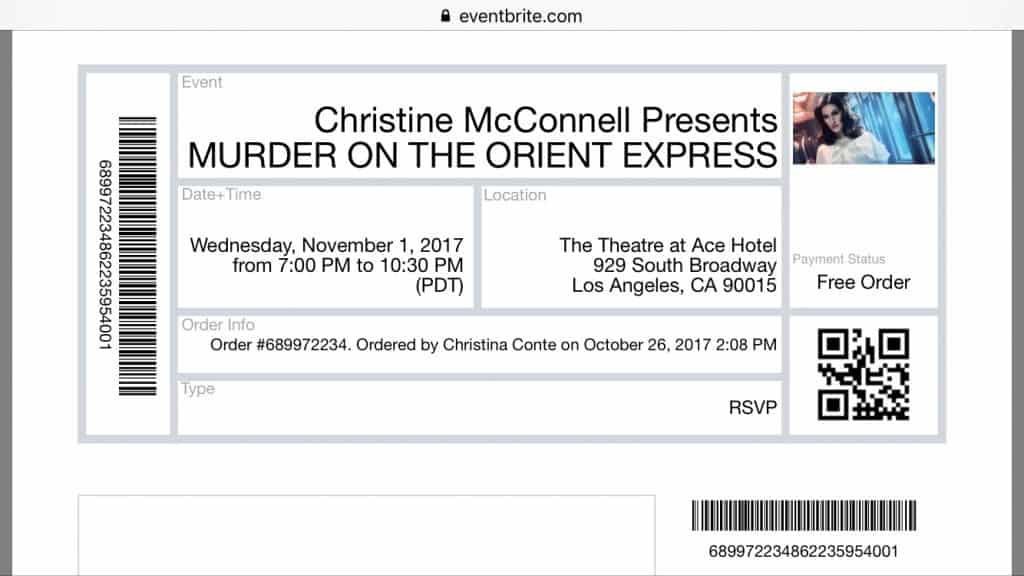ticket for Christine McConnell Orient Express