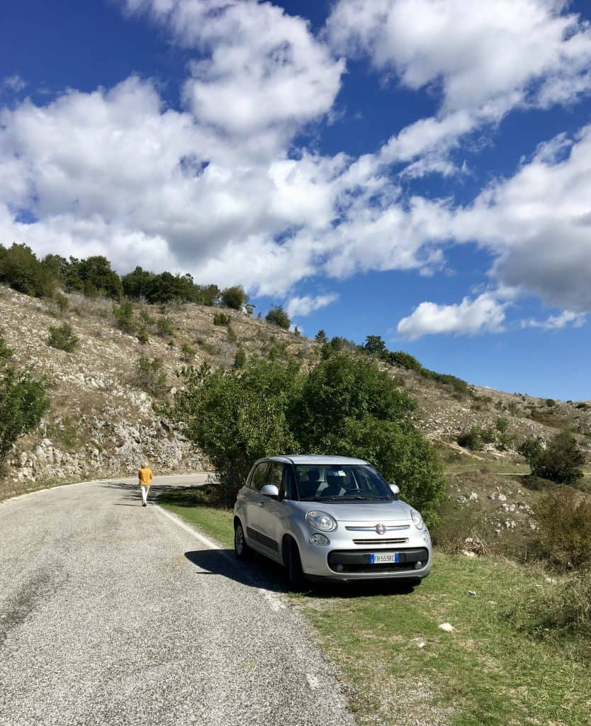 car in Acquafondata on the scenic Italian road trip