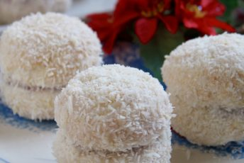 Scottish Snowballs (Raspberry Jam Sandwich Cookies Dipped in Coconut)