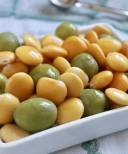Lupin beans and green olives in a bowl
