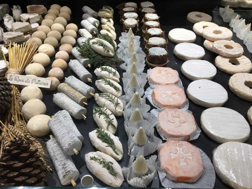 A cheese display in Lyon, France