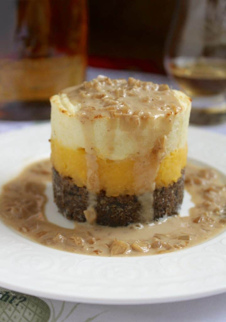 Haggis, Neeps and Tatties Stack with Whisky Sauce for Burns