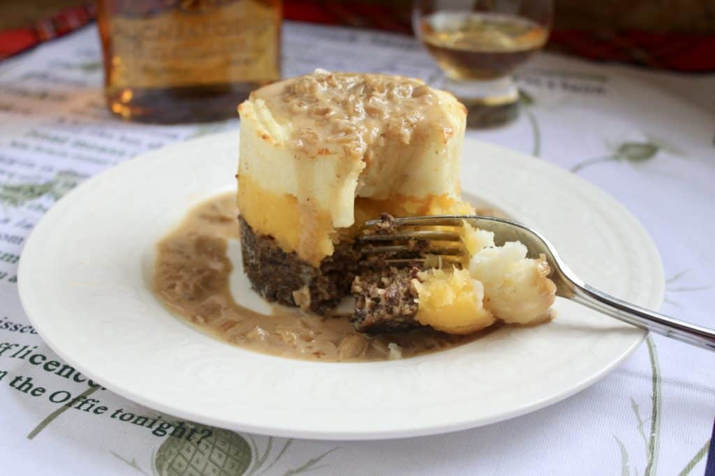 haggis neeps and tatties stack photo