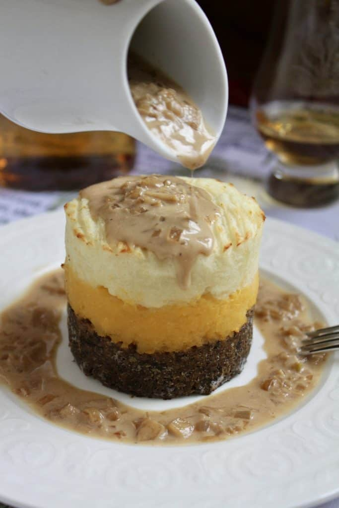 Haggis neeps and tatties stack tower with whisky sauce
