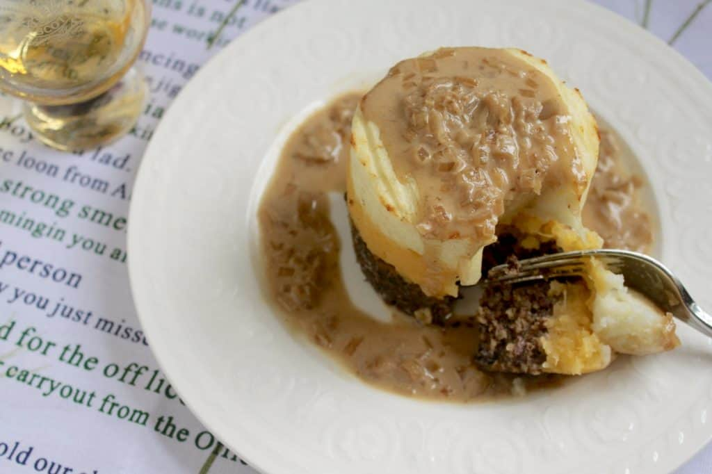 Haggis neeps and tatties stack tower with whisky sauce haggis photo