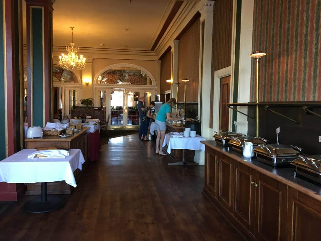 breakfast buffet at Tongariro Chateau Hotel