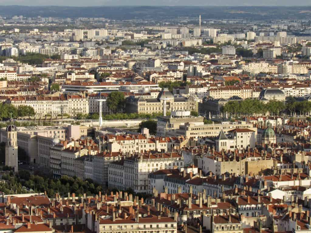 View of Lyon from the basilica with lyon city card