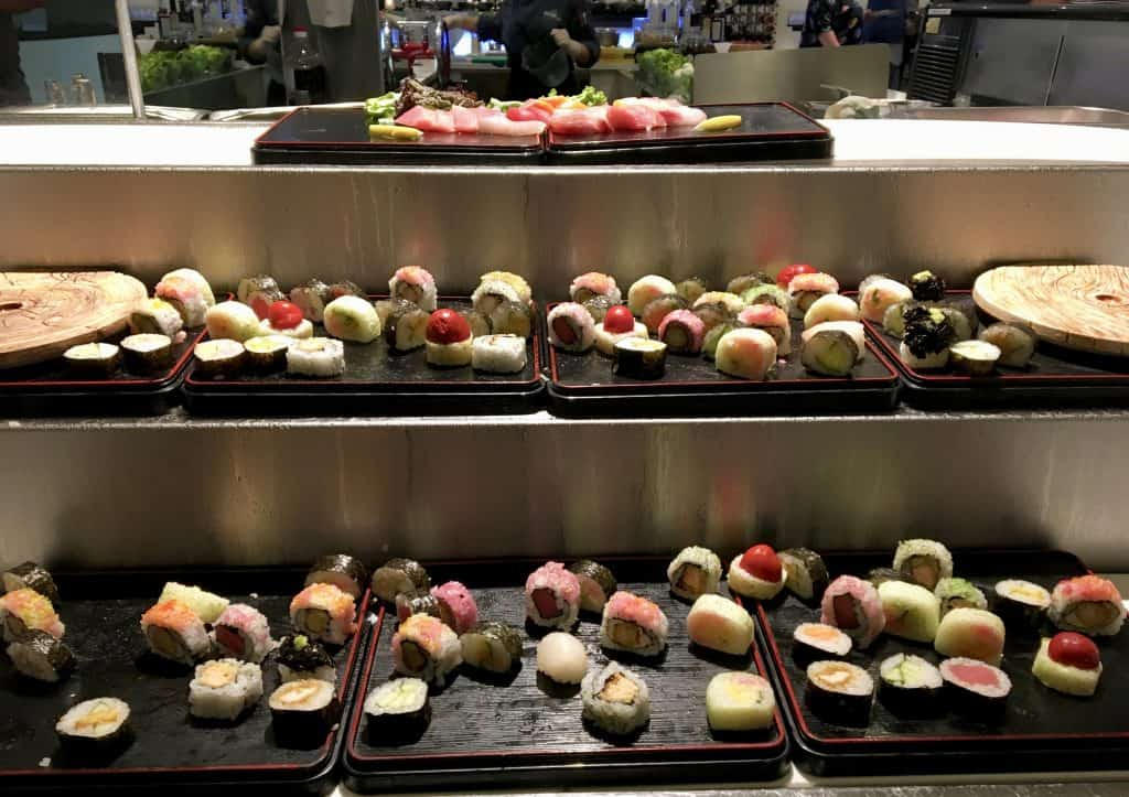 Eight restaurant sushi display
