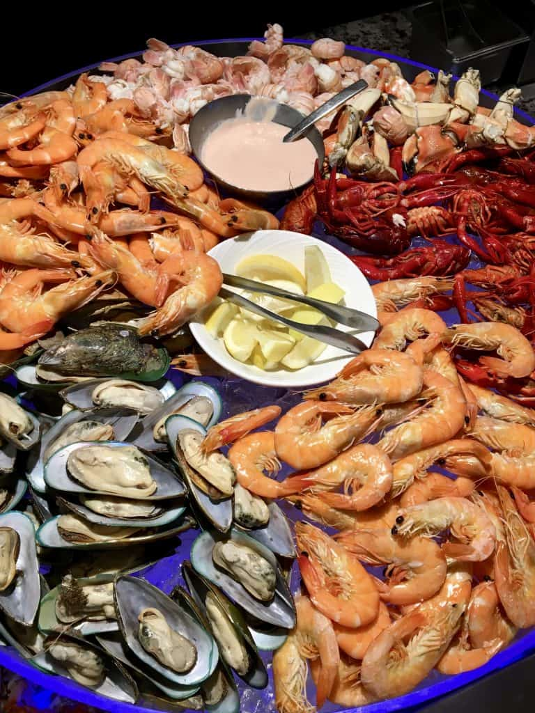 Fresh seafood display at Eight restaurant Cordis Hotel Auckland