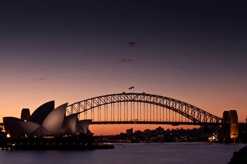 Sunset Sydney Harbour Bridge and Opera House
