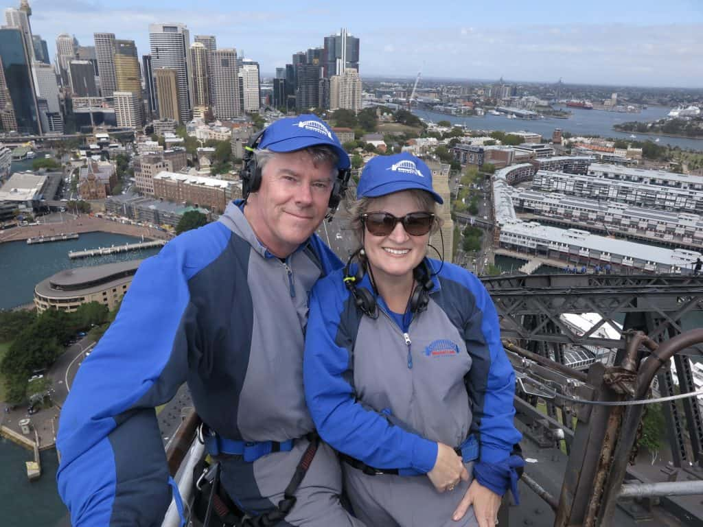 Christina and husband on Sydney's Harbour Bridge Climb