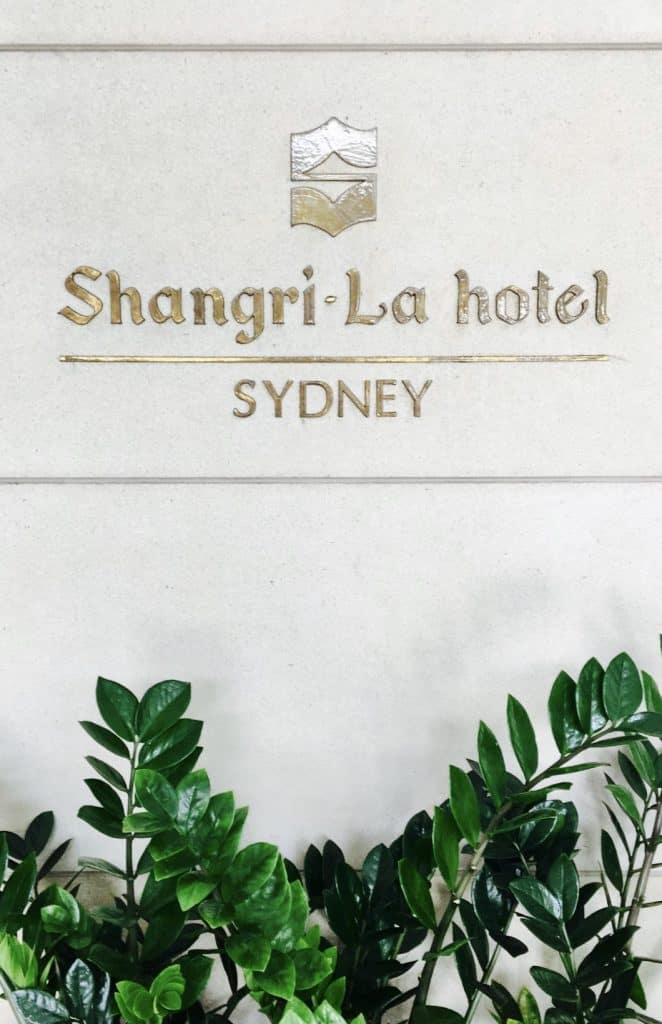 Exterior sign of Shangri-La Hotel in Sydney