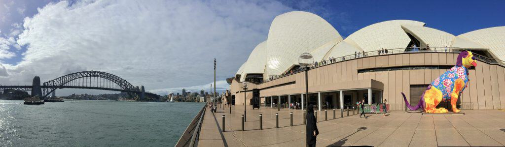 Panoramic view of Sydney Harbour Bridge and Opera house