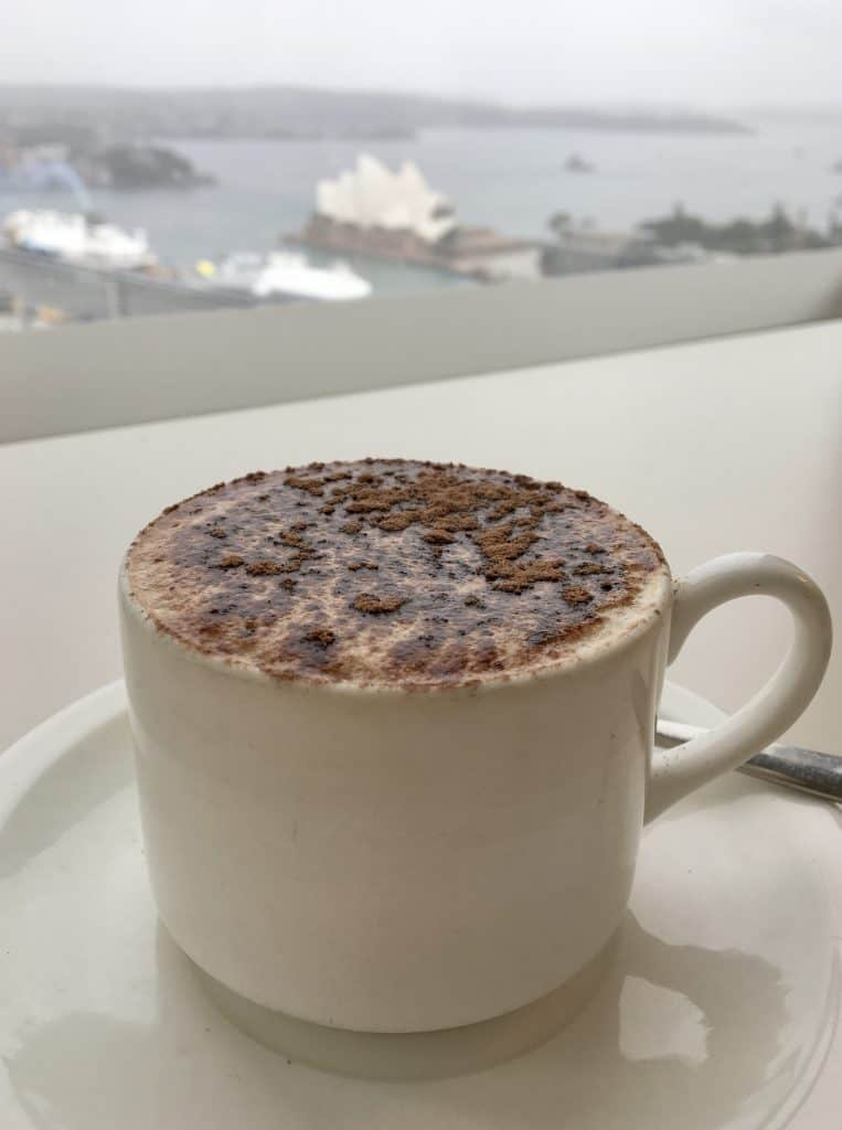 Cappuccino with a view of Opera House in Sydney