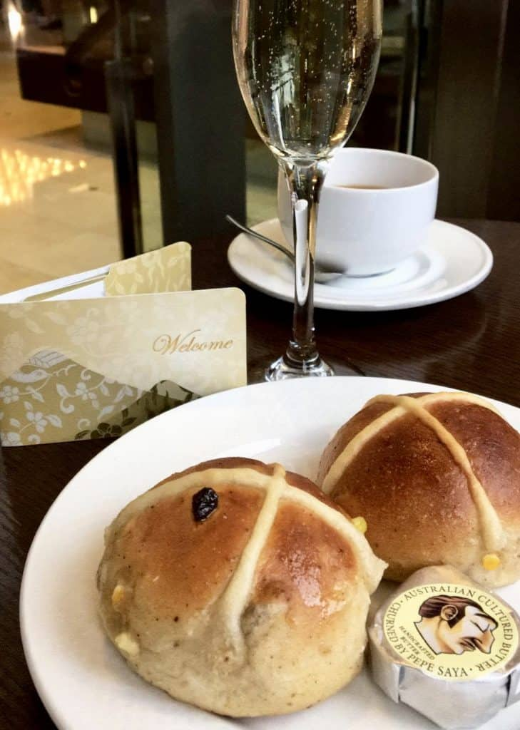 Hot cross buns and champagne at the Shangri-La in Sydney